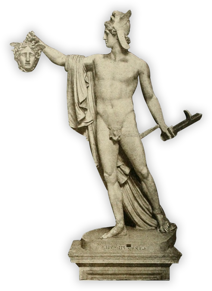 Circles About: Greek Sculpture with Head and Sword.